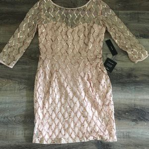 Lulus Fitted Dress Rose Gold and ivory Size medium